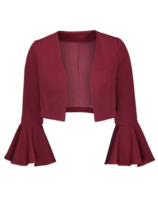 Plus Size Loose Plain Flare Sleeve Women's Jacket