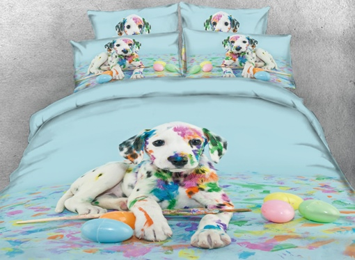 Colorful Dalmatian Dog Printed 4-Piece 3D Bedding Sets/Duvet Covers