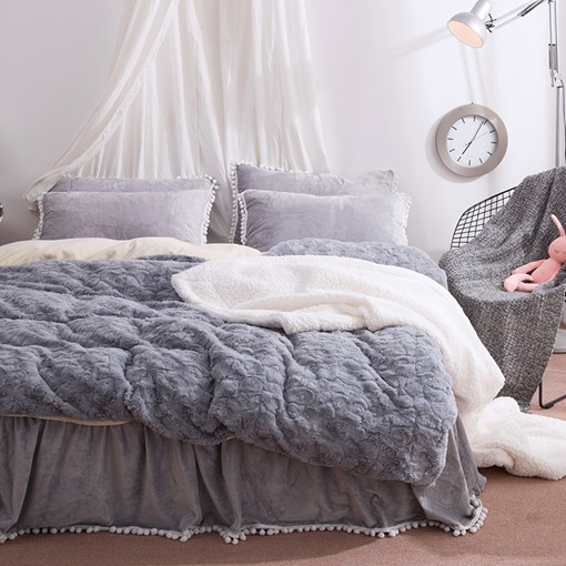 Solid Grey with Decorative Fuzzy Ball Faux Rabbit Fur 4-Piece Fluffy Bedding Sets