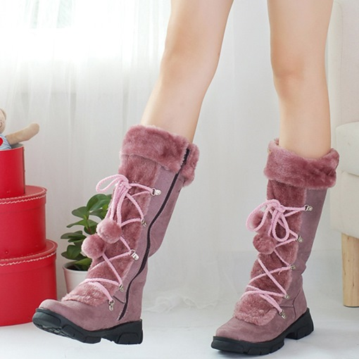 Warm Wollen Lace Up Pompon Women's Winter Boots for Women