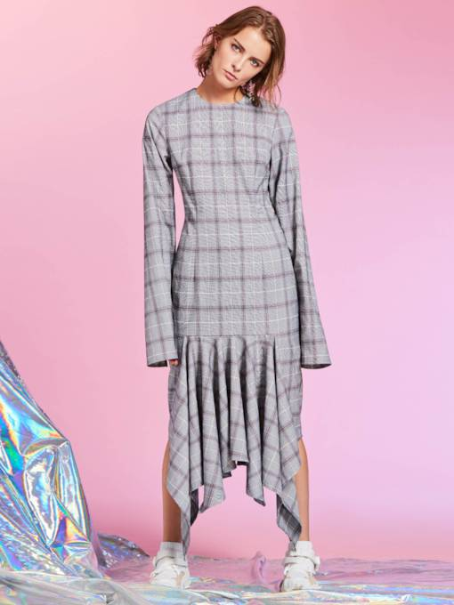 Plaid Loose Asym Women's Day Dress