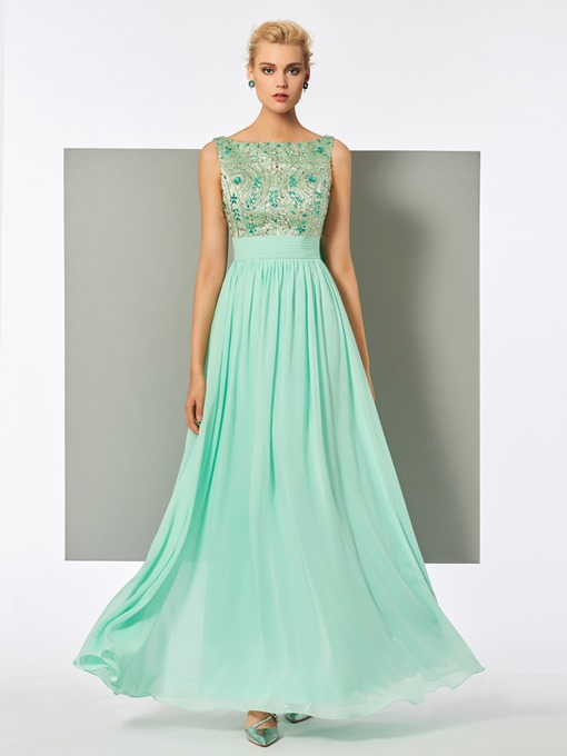 A-Line Bateau Beadings Rhinestone Lace Evening Dress