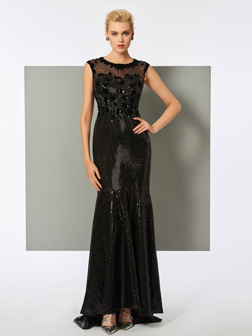 Scoop Trumpet Sequins Cap Sleeves Floor-Length Evening Dress