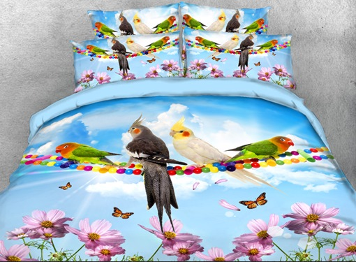 Parrots and Butterflies Printed 4-Piece 3D Bedding Sets/Duvet Covers