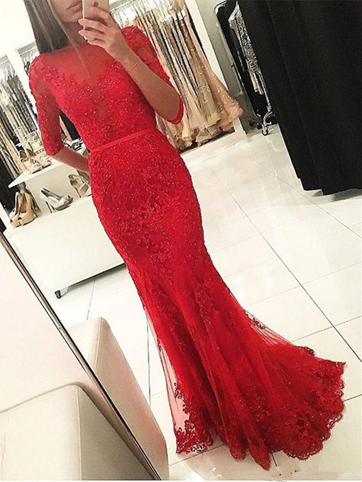 Mermaid Appliques Beading Half Sleeves Evening Dress
