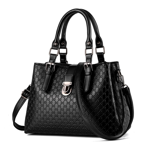 Concise Embossing Solid Color Women Tote