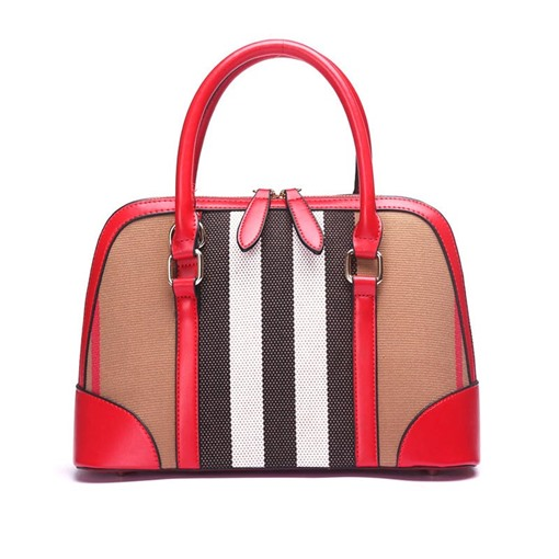 Color Block Stripe Pattern Zipper Women Handbag
