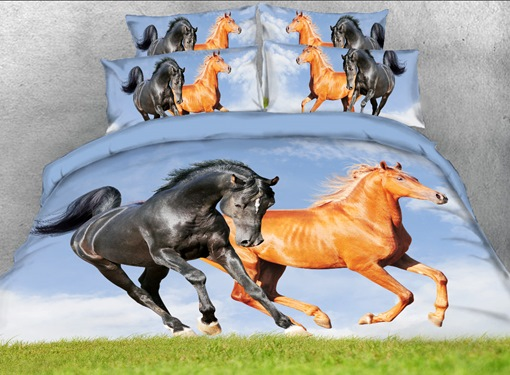 Running Horses Printed 3D 4-Piece Bedding Sets/Duvet Covers