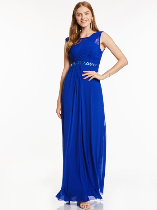 Scoop Neck Sleeveless Beaded A Line evening Dress