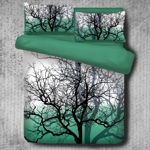 Tree Branches Cluster Pattern Green 4-Piece Polyester Bedding Sets/Duvet Cover