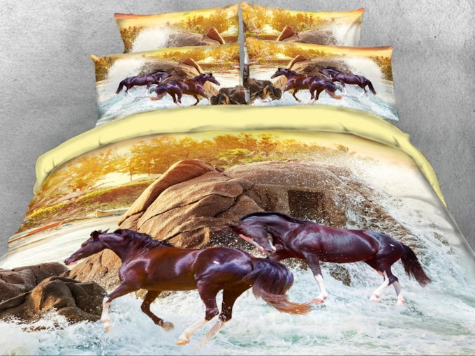 Running Brown Horse Printed 4-Piece 3D Bedding Sets/Duvet Covers