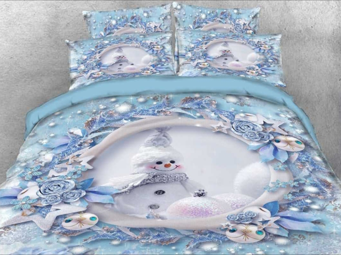 Snowman Winter Landscape Cartoon 4pcs 3D Floral Bedding Sets