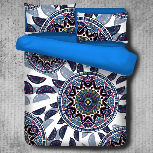 Floral Mandala Pattern Exotic Style Polyester 4-Piece Bedding Sets/Duvet Cover