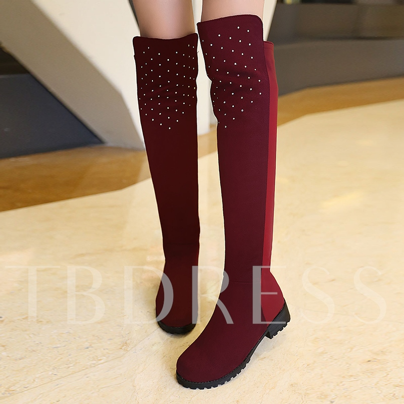 Image of Block Heel Rhinestone Boots Slip On Shoes for Women