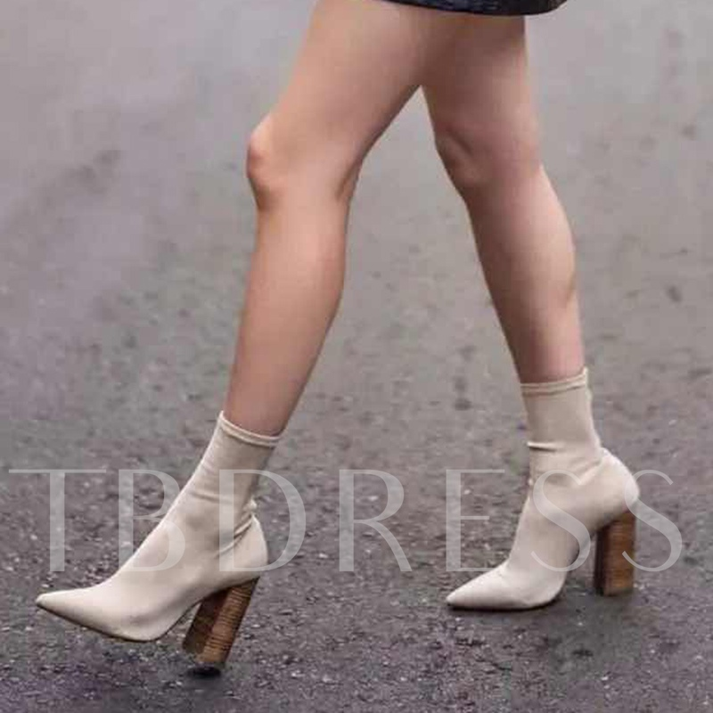 Image of Beige Shoes Chunky Heel Womens Sock Boots