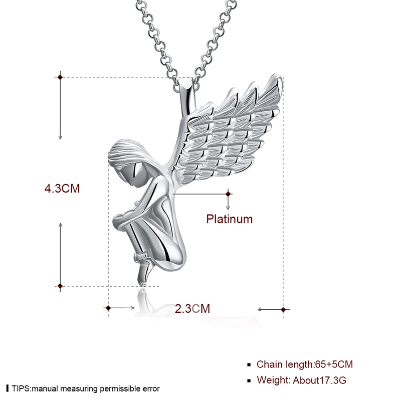 Christmas Angel's Wings Shaped Overgild Silver Plated Pendant Necklace