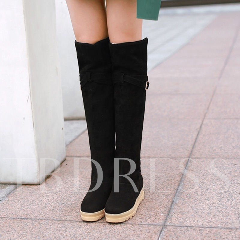 Height Increase Slip On Women's Knee High Boots (Extra Size Available)