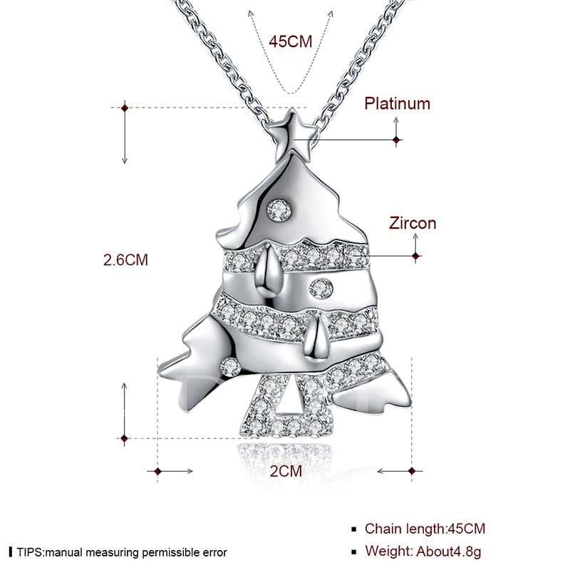 Christmas Bronze Zircon Inlaid Fish Shaped Link Chain Necklace