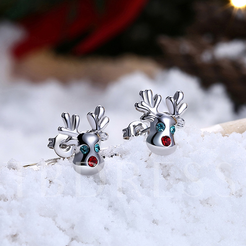 Christmas Diamante Overgild Zircon Inlaid Elk Antlers Earrings