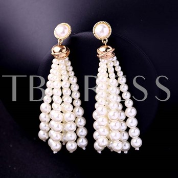 Beads Synthetic Pearl Alloy Tassel Earrings