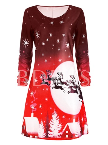 Pullover Long Sleeve Christmas Pattern Women's Day Dress
