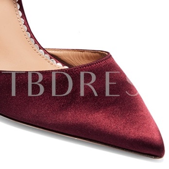 Burgundy High Heels Fringe Pointed Toe Women's Pumps(Plus Size Available)