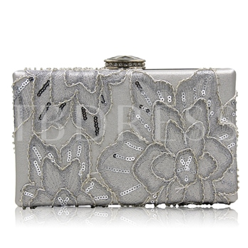 Graceful Sequins Floral Decoration Evening Clutch