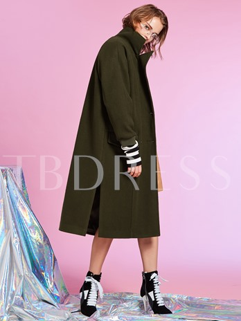 Notched Lapel Double-Breasted Plain Women's Overcoat