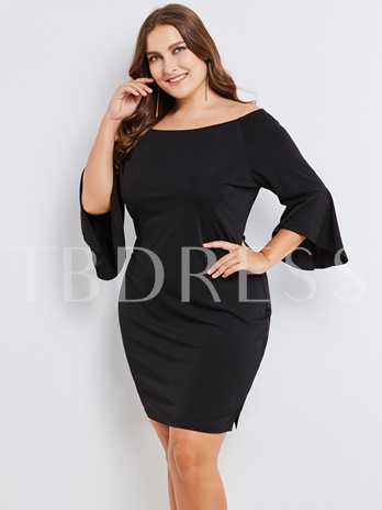 Black Boat Neck Bell Sleeve Plus Size Women's Bodycon Dress