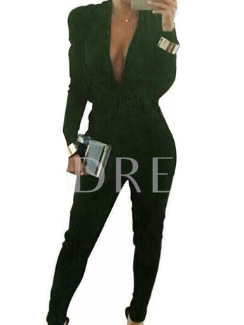 Sexy Deep V-Neck Long Sleeves Women's Jumpsuits