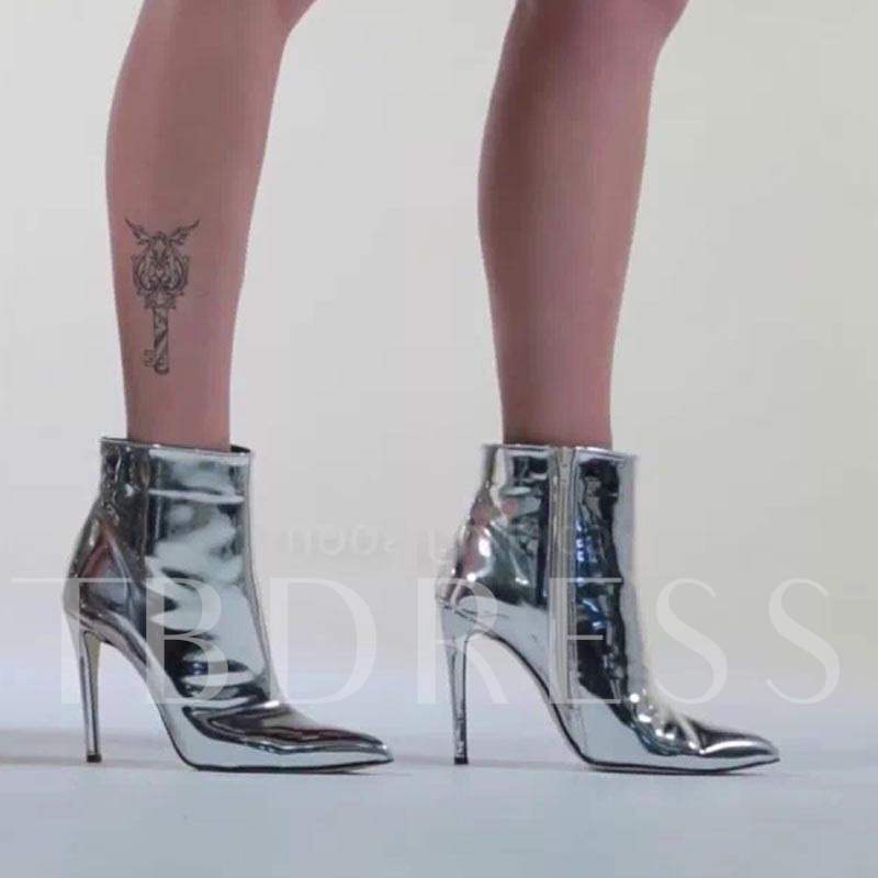 Sliver Shoes High Heel Patent Leather Boots for Women