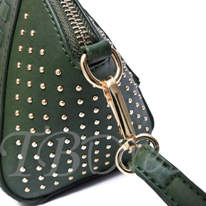 Shelly Shape Rivet Tassel Shoulder Bag