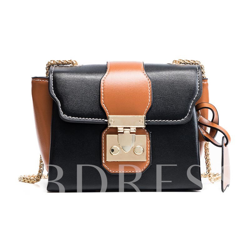 Color Block Latch Decorated Cross Body Bag