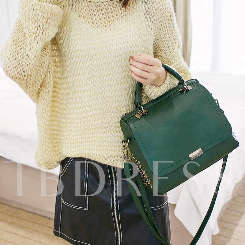 Solid Color Women PU Tote Bag