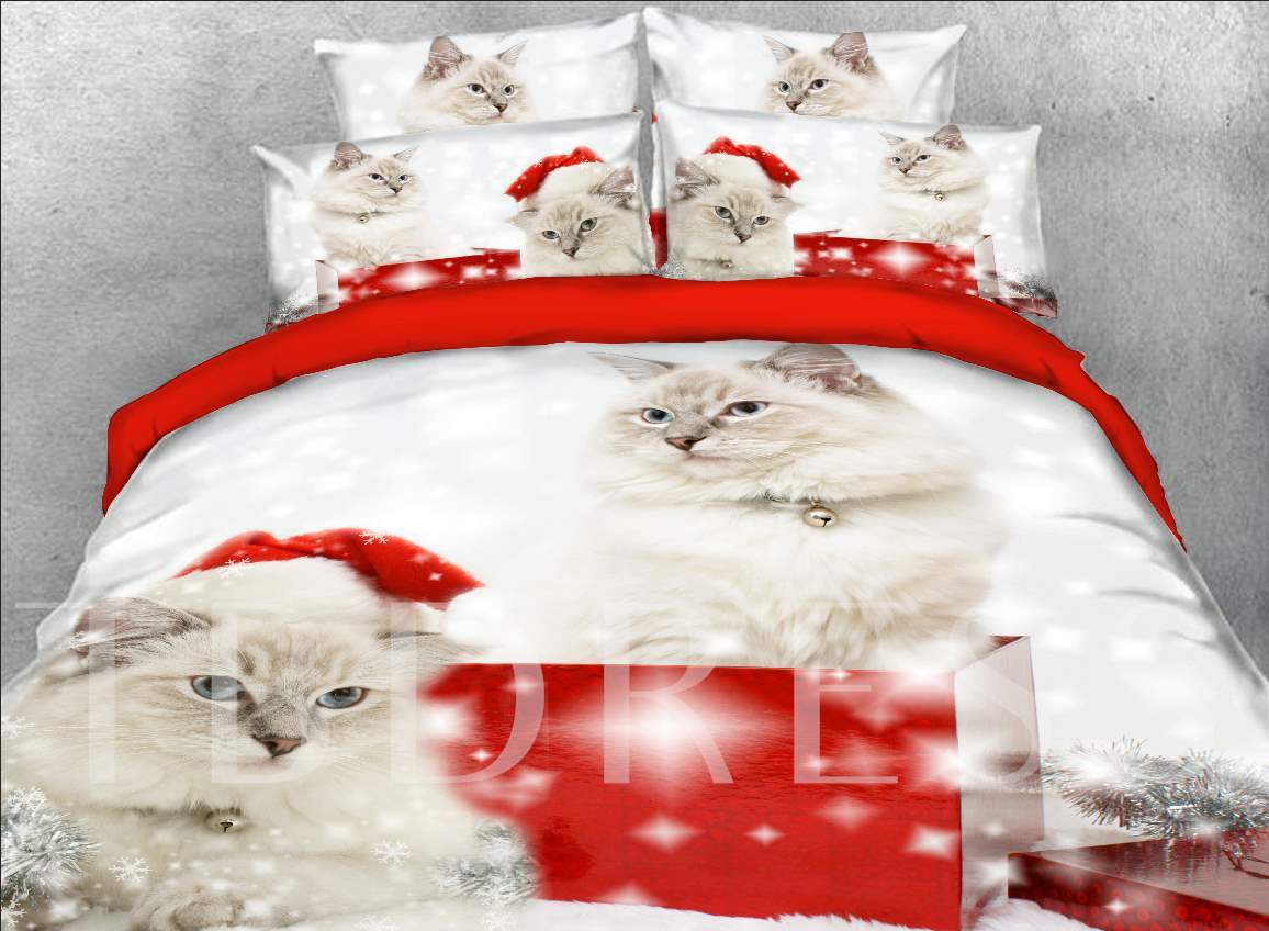 Persian Cat with Christmas Hat Printed 4-Piece 3D Bedding Sets/Duvet Covers