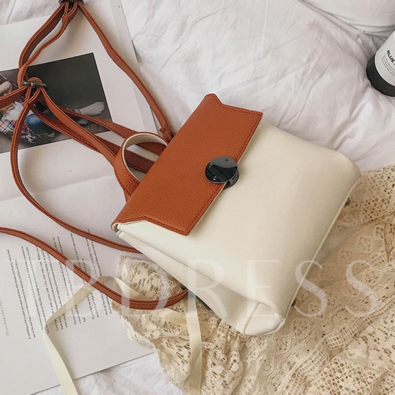Casual Color Block PU Backpack