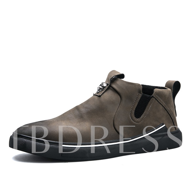 Nubuck Leather Elastic Band Men's Loafers