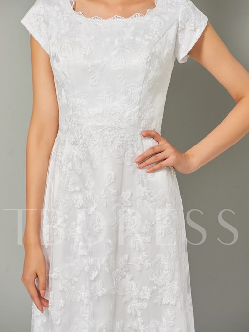 A-Line Lace Cap Sleeves Scoop High Low Evening Dress