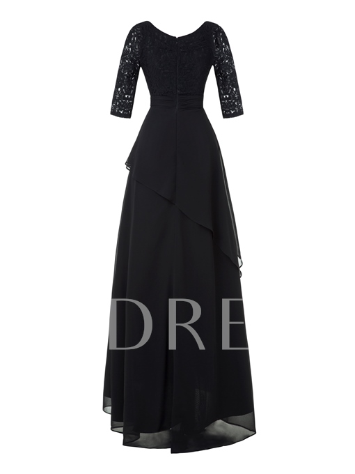 V Neck Half Sleeves A Line Sweep Train Evening Dress