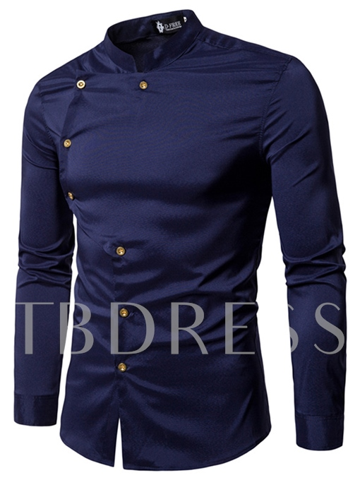 Stand Collar Double Button Solid Color Slim Fit Men's Shirt
