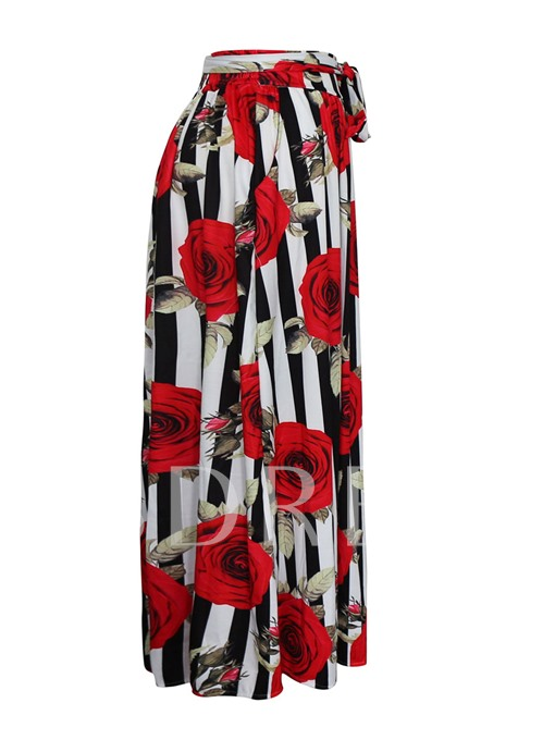 Floral Print Pleated Belt Expansion Women's Maxi Skirt