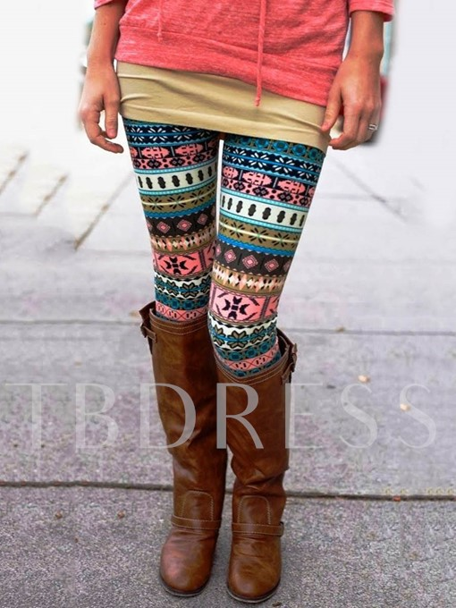 Skinny Print Ankle Length Women's Leggings