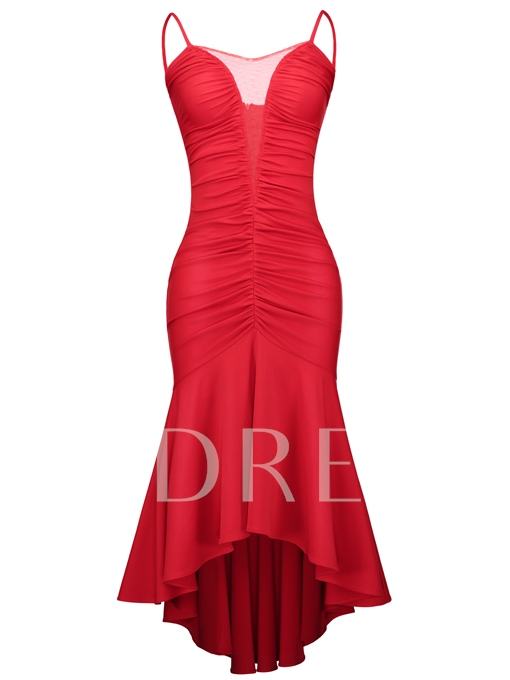 Christmas Red Ruffled Strappy Women's Bodycon Dress
