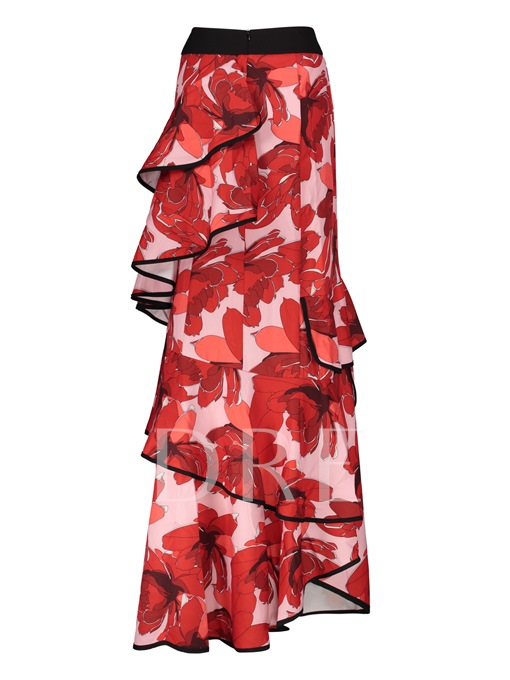 Irregular Falbala Printing Pleated Floor-Length Women's Vacation Skirt