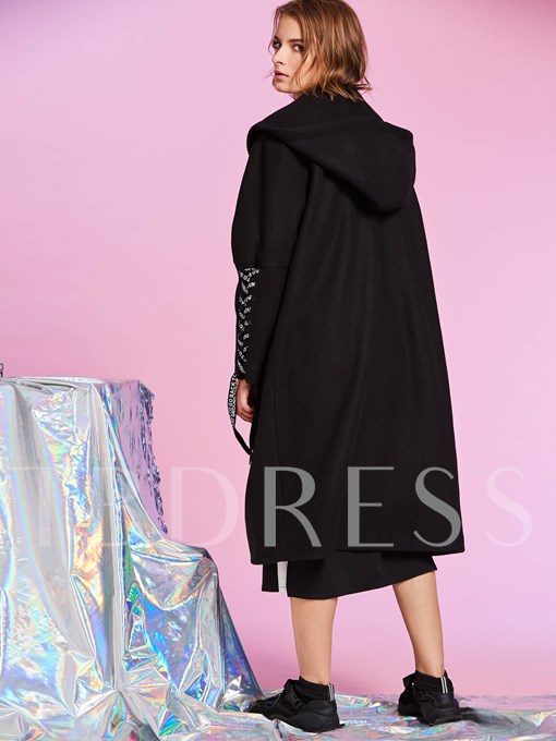 Single-Breasted Lace-Up Long Hooded Women's Overcoat