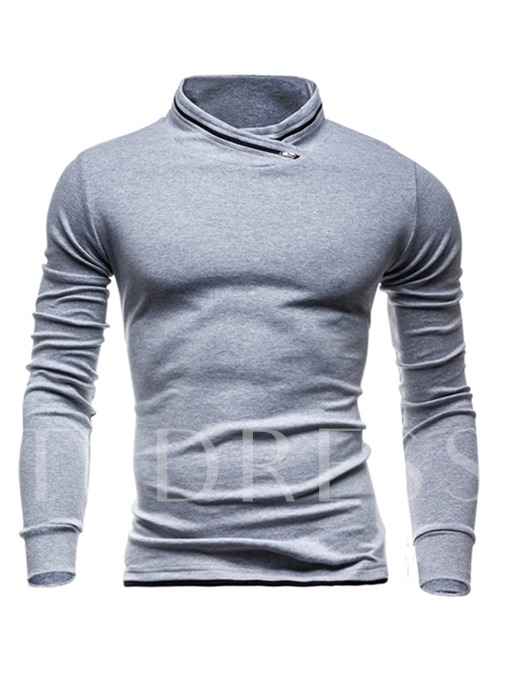 Stand Collar Solid Color Slim Fit Men's Hoodie