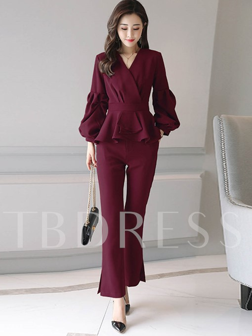 Puff Sleeve V-Neck Patchwork Women's Pants Suit