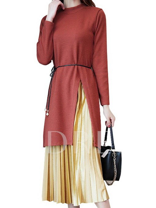 Slim Pleated Women's Sweater And Skirt Suit
