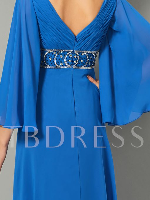 A-Line V-Neck Rhinestone Half Sleeves Evening Dress