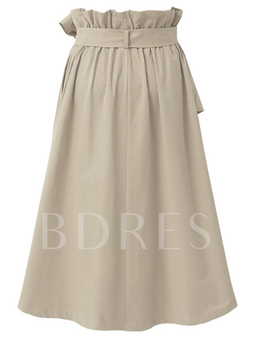 Pleated Lace-Up A-Line Mid Calf Women's Skirt